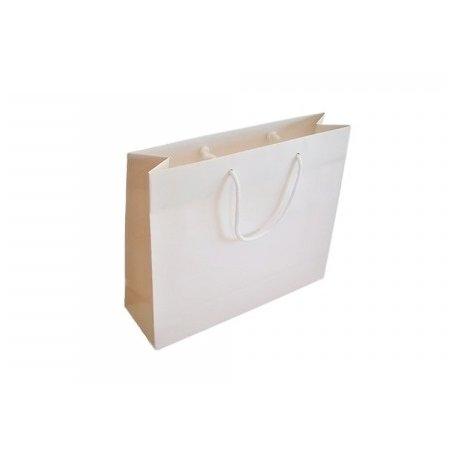 12 Bolsas de papel semilujo blanco. 14X11X8 cms.