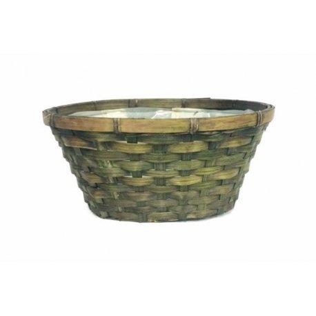 4 Cestas-macetero, verdes 23X10 cms