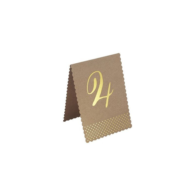 12 Números-Mesero indicadores para mesas. Kraft impresos en stamping dorado