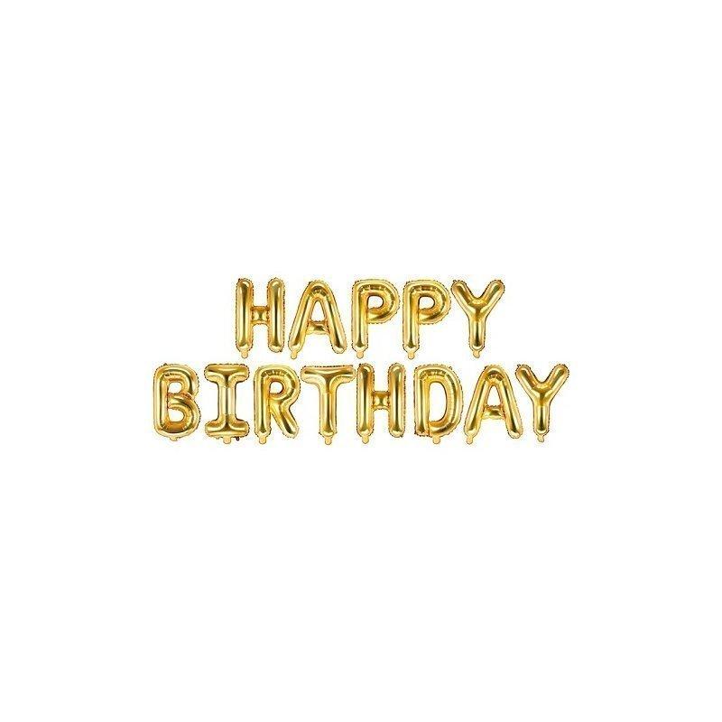Globos Happy Birthday, dorados