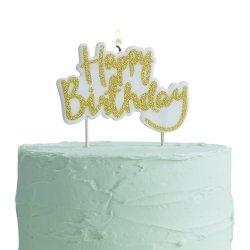 Vela dorada Happy Birthday