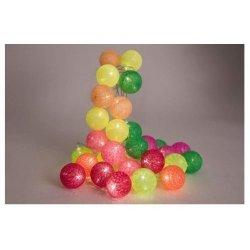 Guirnalda luminosa con bolas de algodón, amarillo, naranja, rosas y verde