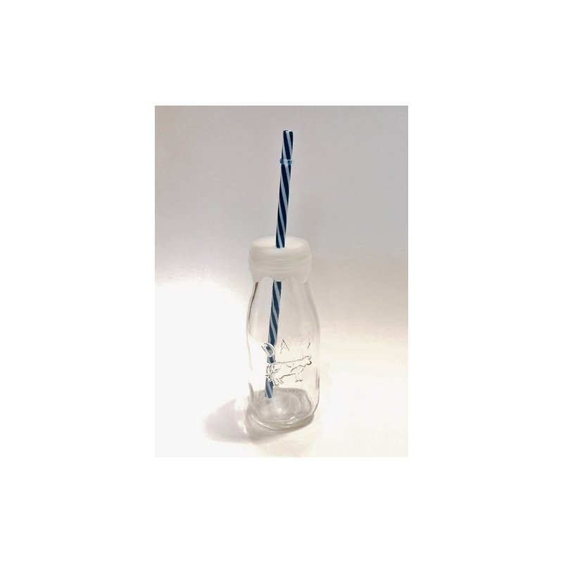 6 Botellas de cristal dairy con tapa de silicona y pajita