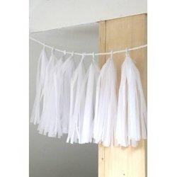 Guirnalda tassel-borlas de papel blanco