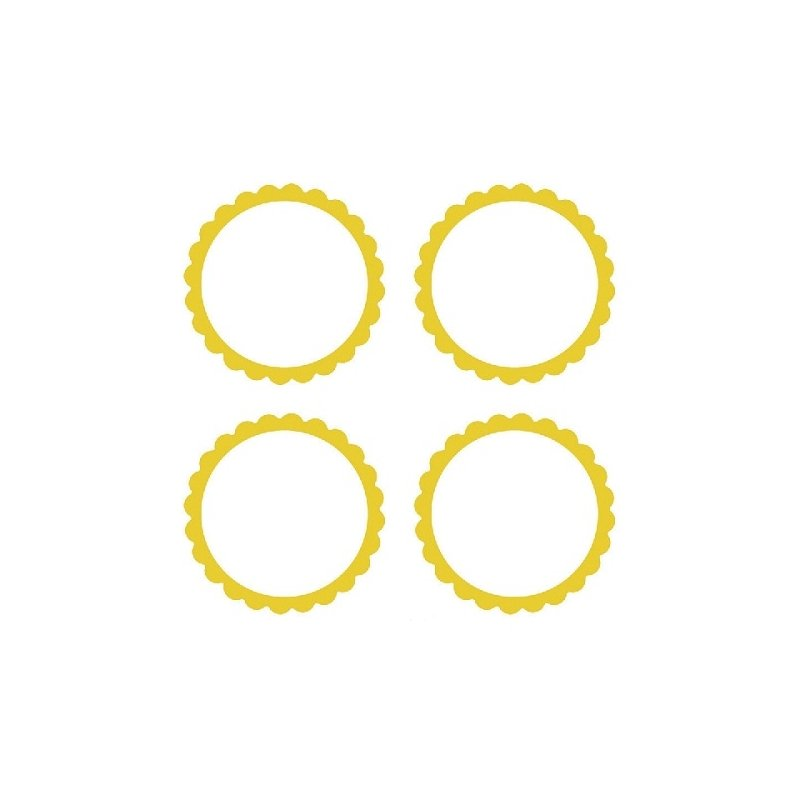 20 Etiquetas adhesiva, festón amarillo