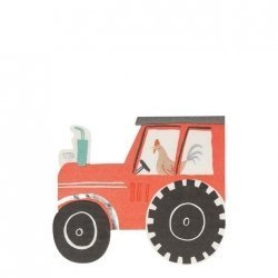 16 Servilletas de papel en forma de tractor. Fiesta en la granja
