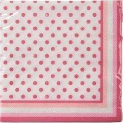 20 Servilletas de papel, blancas con lunares rosa