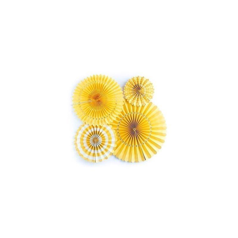 Set de 4 abanicos-molinillos, color amarillo