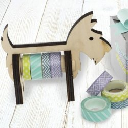 Dispensador para washi tape, scotty dog. Incluye 4 rollos de washi