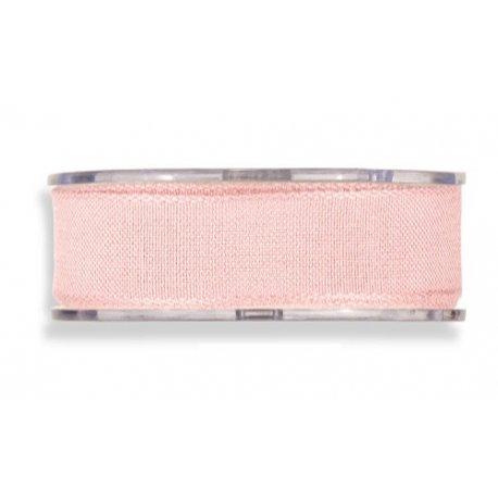 Cinta de regalo en algodón color rosa bebé. 25 MM X 15 M