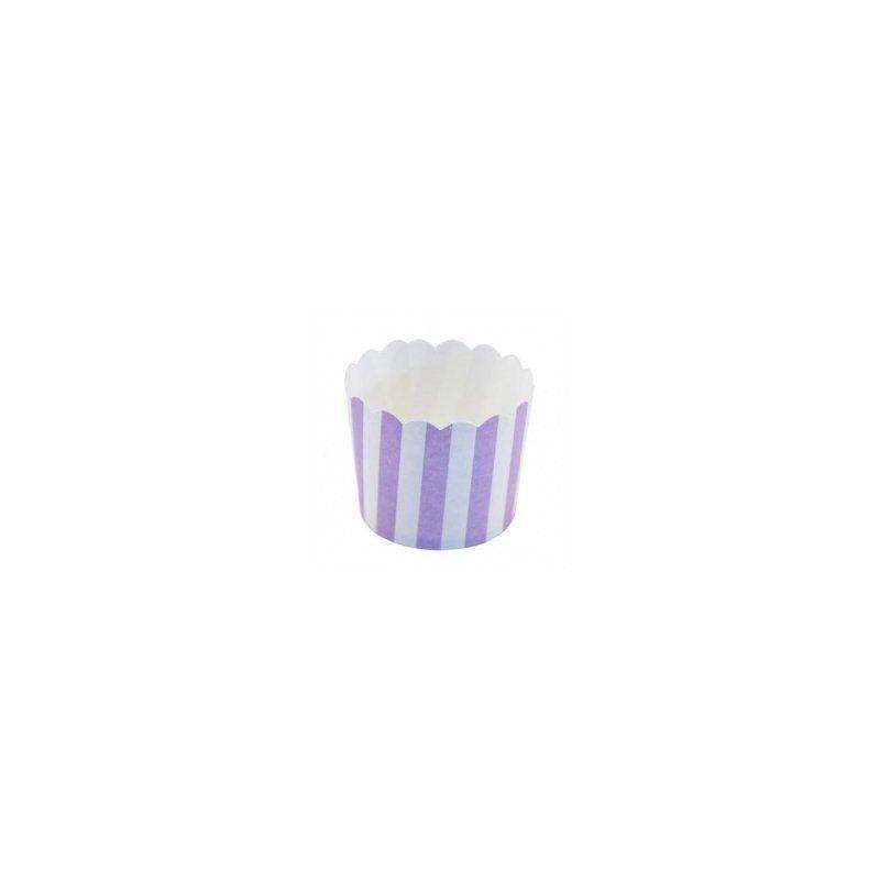 12 Tarrinas-cápsulas de papel para chuches ó helado. Rayas lila