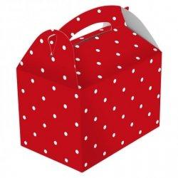 50 Cajas picnic, rojas con lunares blancos. 17x16x10 CM.