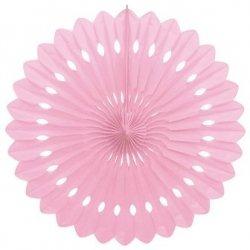 Abanico papel de seda rosa. 25 cms