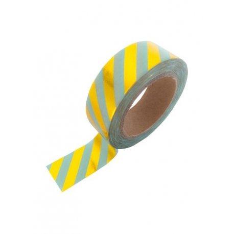 Washi tape mint con rayas foil dorado. 15 mm x 10 m