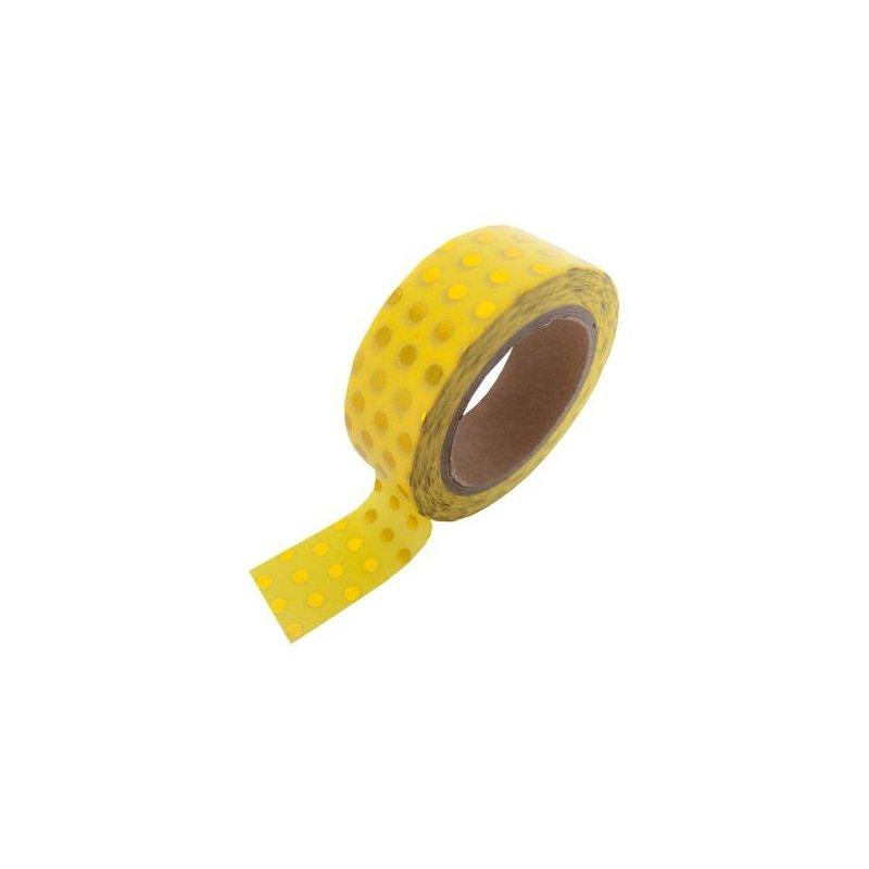 Washi tape amarillo con lunares foil dorado. 15 mm x 10 m
