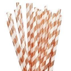 25 Pajitas de papel, foil, rayas cobre
