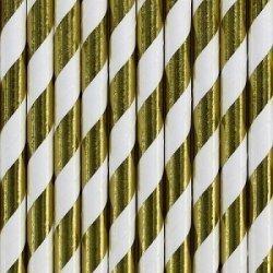 10 Pajitas de papel, rayas doradas metalizadas