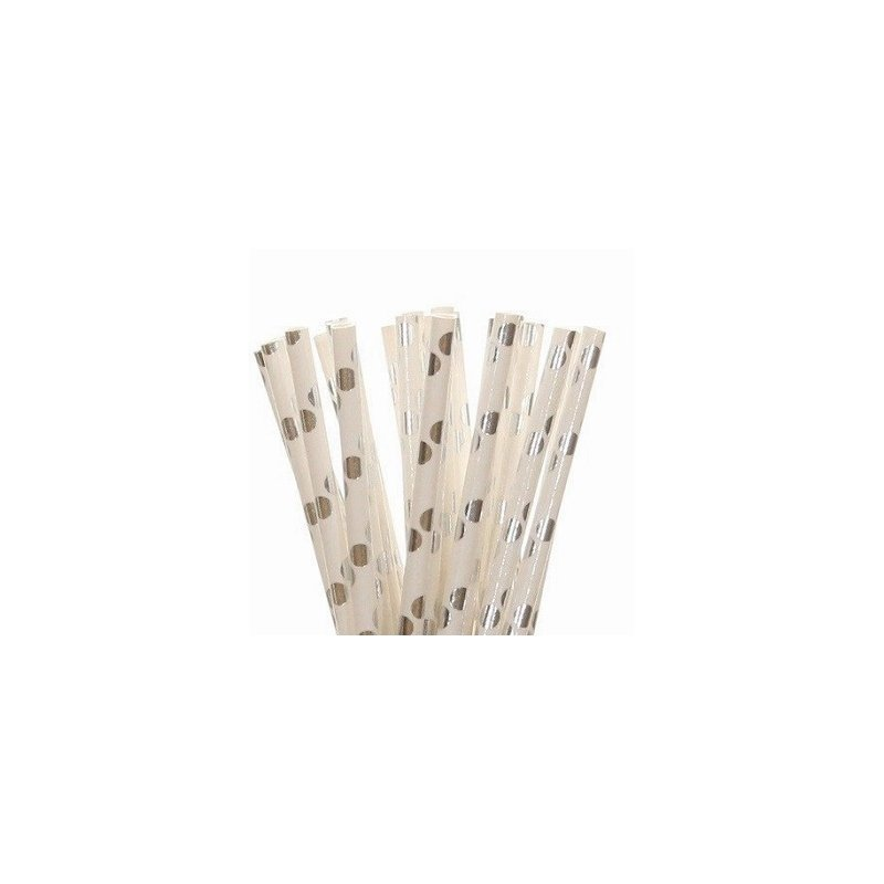 25 Pajitas de papel, foil, lunares plateados