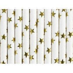 10 Pajitas de papel, blancas con estrellas doradas brillo.