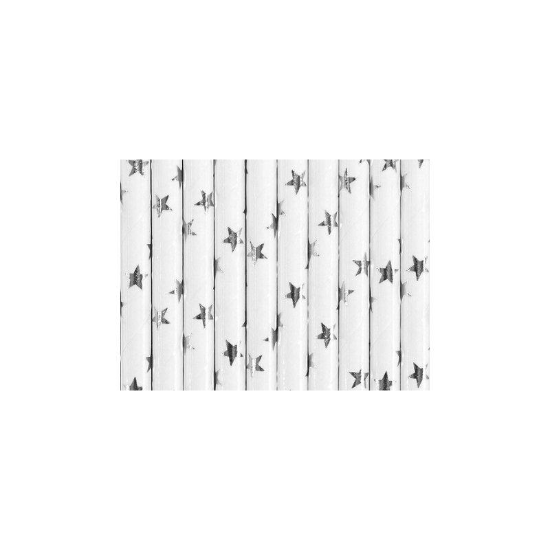 10 Pajitas de papel, foil, estrellas plateadas, brillo