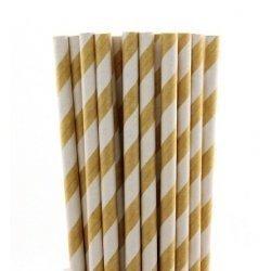 25 Pajitas de papel, kraft, rayas blancas.