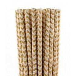 25 Pajitas de papel, kraft chevron blanco