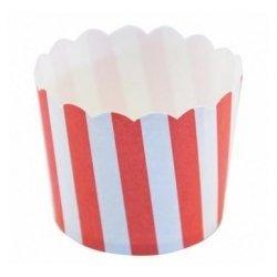 12 Tarrinas-cápsulas de papel para chuches ó helado. Rayas rojas.