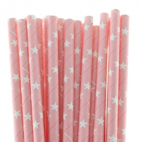 24 Pajitas de papel, rosa bb con estrellas blancas