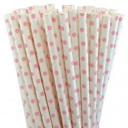 25 Pajitas de papel, blancas con mini lunares rosa bb