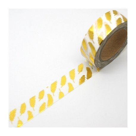 Washi tape blanco, pluma foil dorada. 15 mm x 10 m