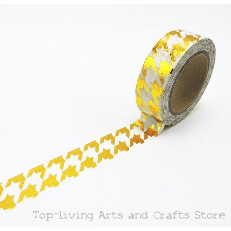 Washi tape blanco, pata de gallo, foil dorada. 15 mm x 10 m