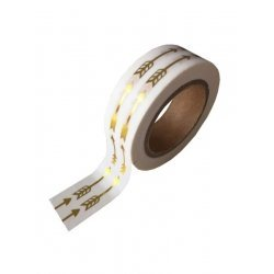 Washi tape blanco, flecha, foil dorada. 15 mm x 10 m