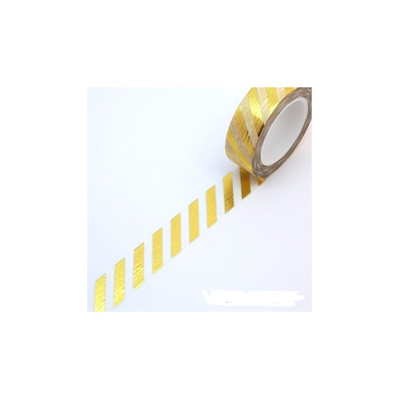 Washi tape blanco, raya foil dorada. 15 mm x 10 m