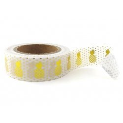 Washi tape blanco, piña metalizado oro. 15 mm x 10 m
