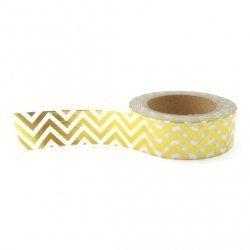 Washi tape blanco, chevron metalizado oro. 15 mm x 10 m