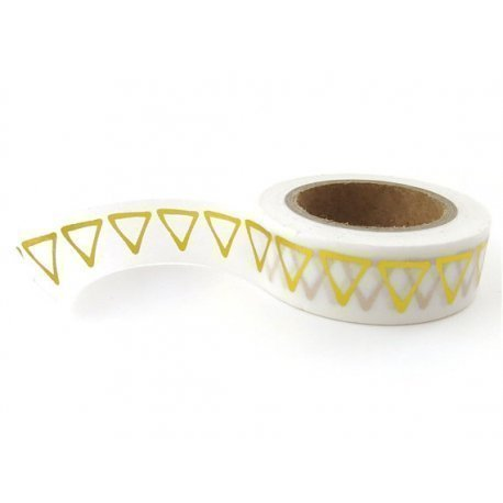 Washi tape blanco, triángulo metalizado oro. 15 mm x 10 m