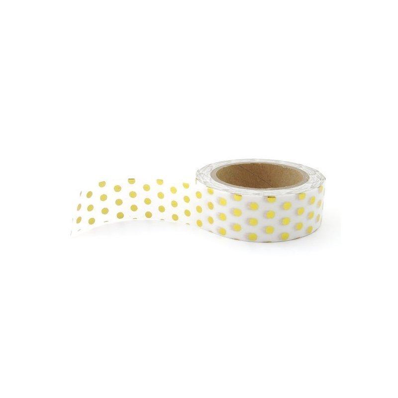 Washi tape blanco, lunar metalizado oro. 15 mm x 10 m