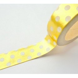 Washi tape metalizado oro, lunares blancos. 15 mm x 10 m