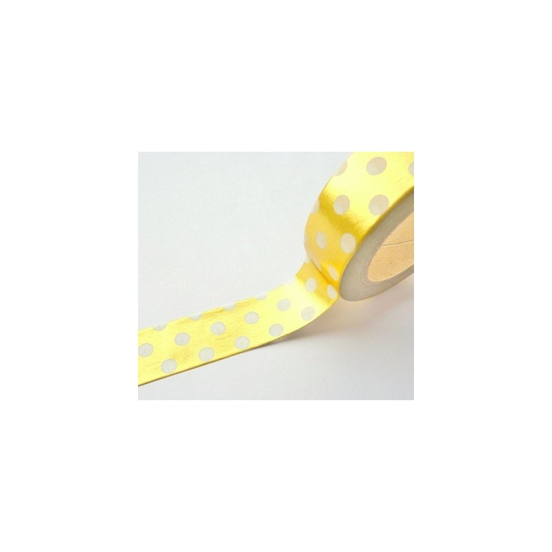Washi tape metalizado oro, lunares blancos. 15 mm x 10 m