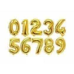 Globo de foil dorado, metalizado brillo. Números del 0 al 9.