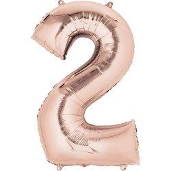Globo de foil rosa claro, metalizado brillo. Números del 0 al 9. 86 cms
