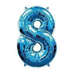 Globo de foil azul, metalizado brillo. Números del 0 al 9.