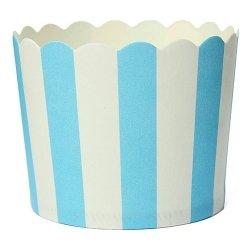 25 Tarrinas-cápsulas de papel para chuches ó helado. Rayas azules