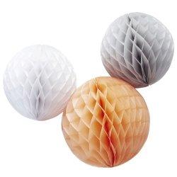 3 Bolas nido de abeja, melocotón, gris y blanco