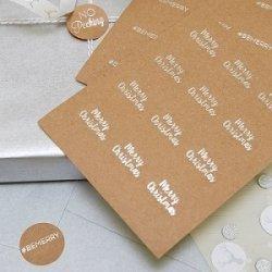 36 Etiquetas adhesivas kraft, texto navideño, plata brillo