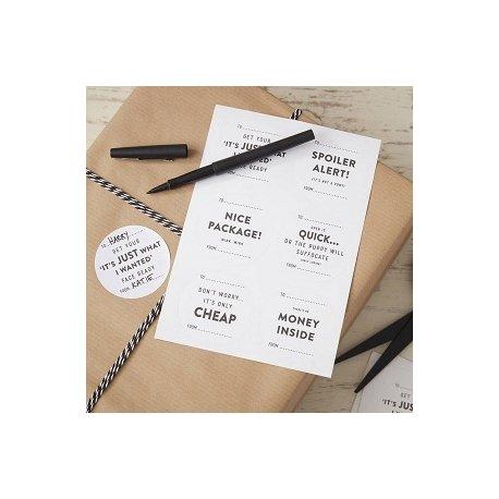 24 Etiquetas adhesivas blancas para regalos, con texto negro