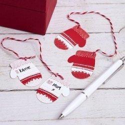 6 Parejas de etiquetas colgantes, manoplas navideñas