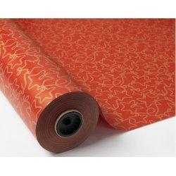 Bobina de papel de regalo kraft rojo con estrellas
