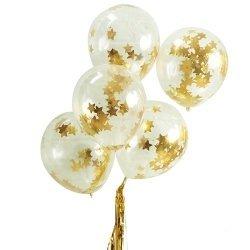 5 Globos de látex, transparente con confeti de estrellas doradas