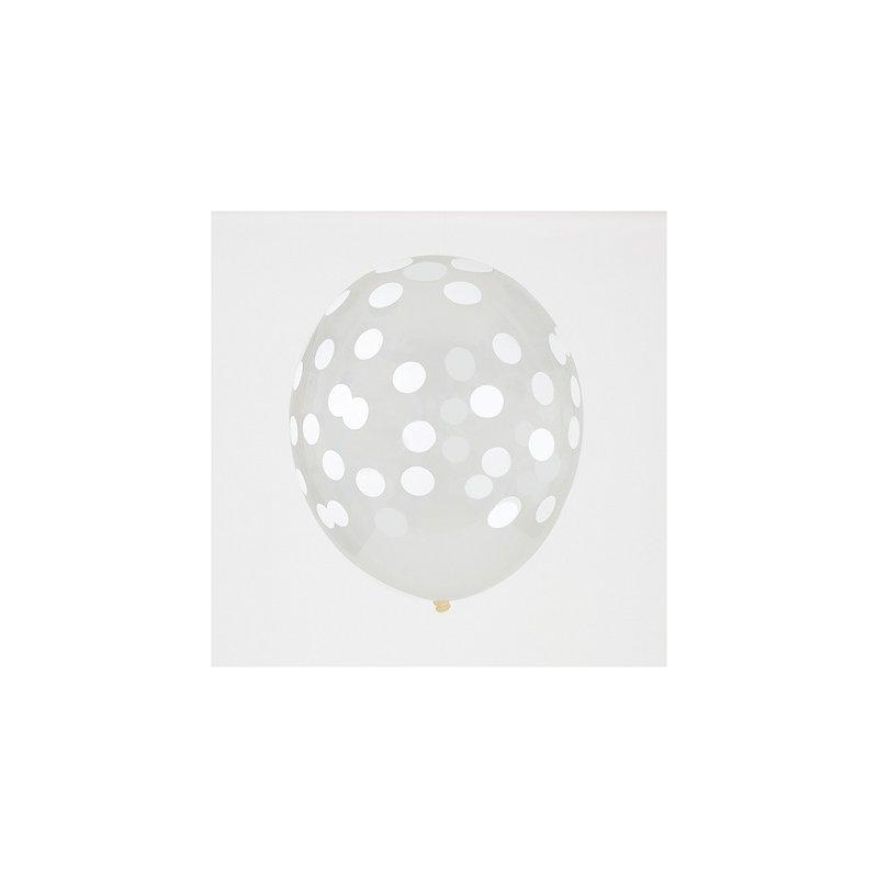 5 Globos transparentes, impresos con lunares blancos.